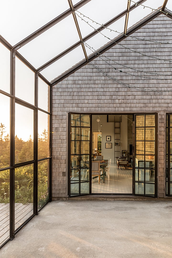 home with open paned glass doors
