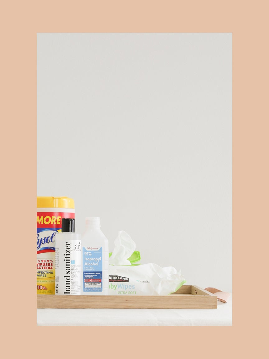 Before - cleaning supplies in original packaging