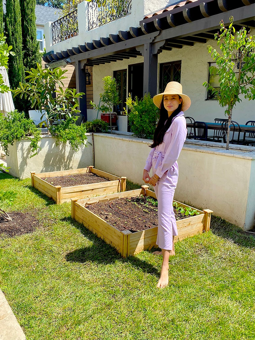 Lily Kwong in her garden
