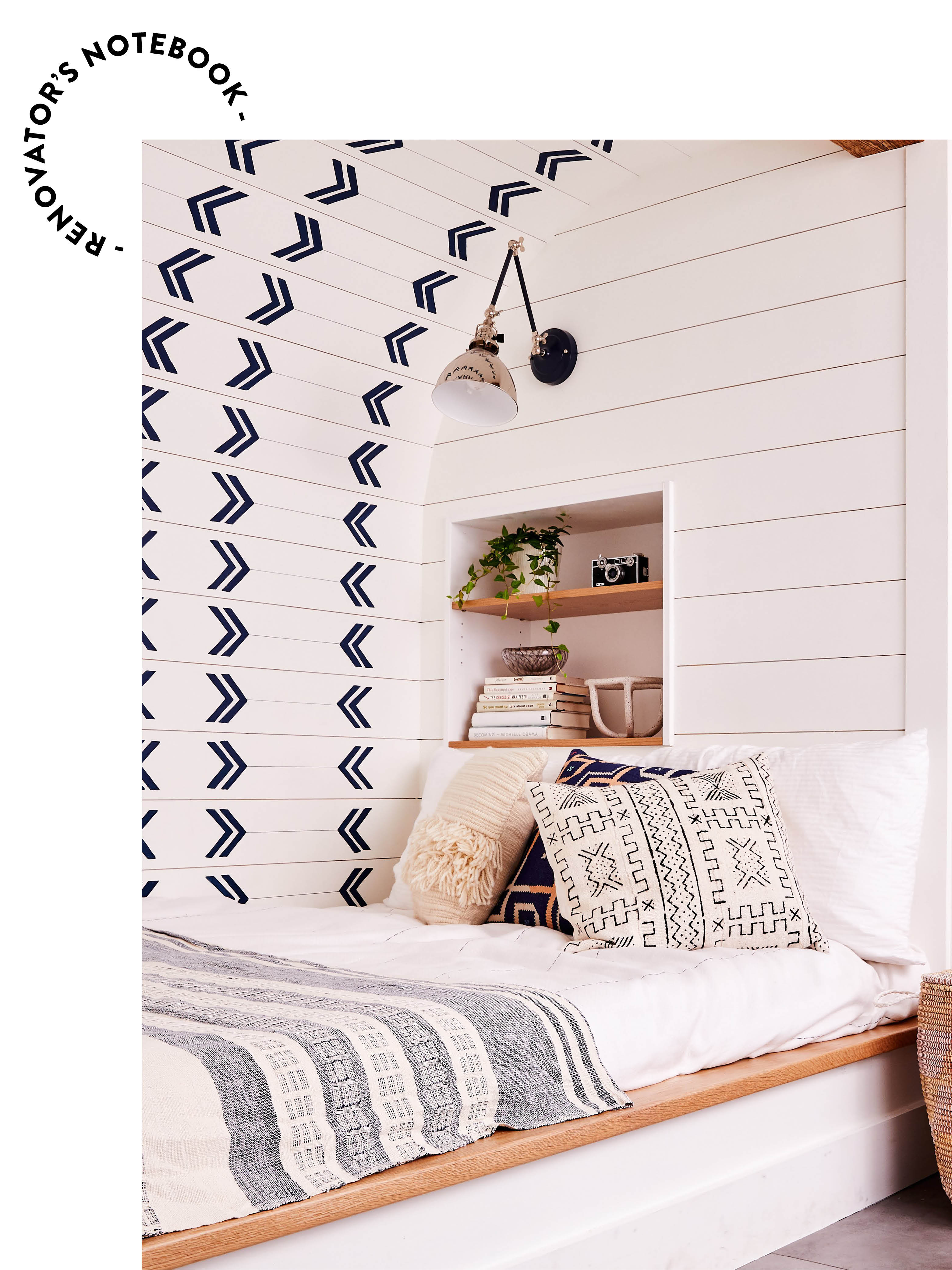 nook bed with shiplap walls
