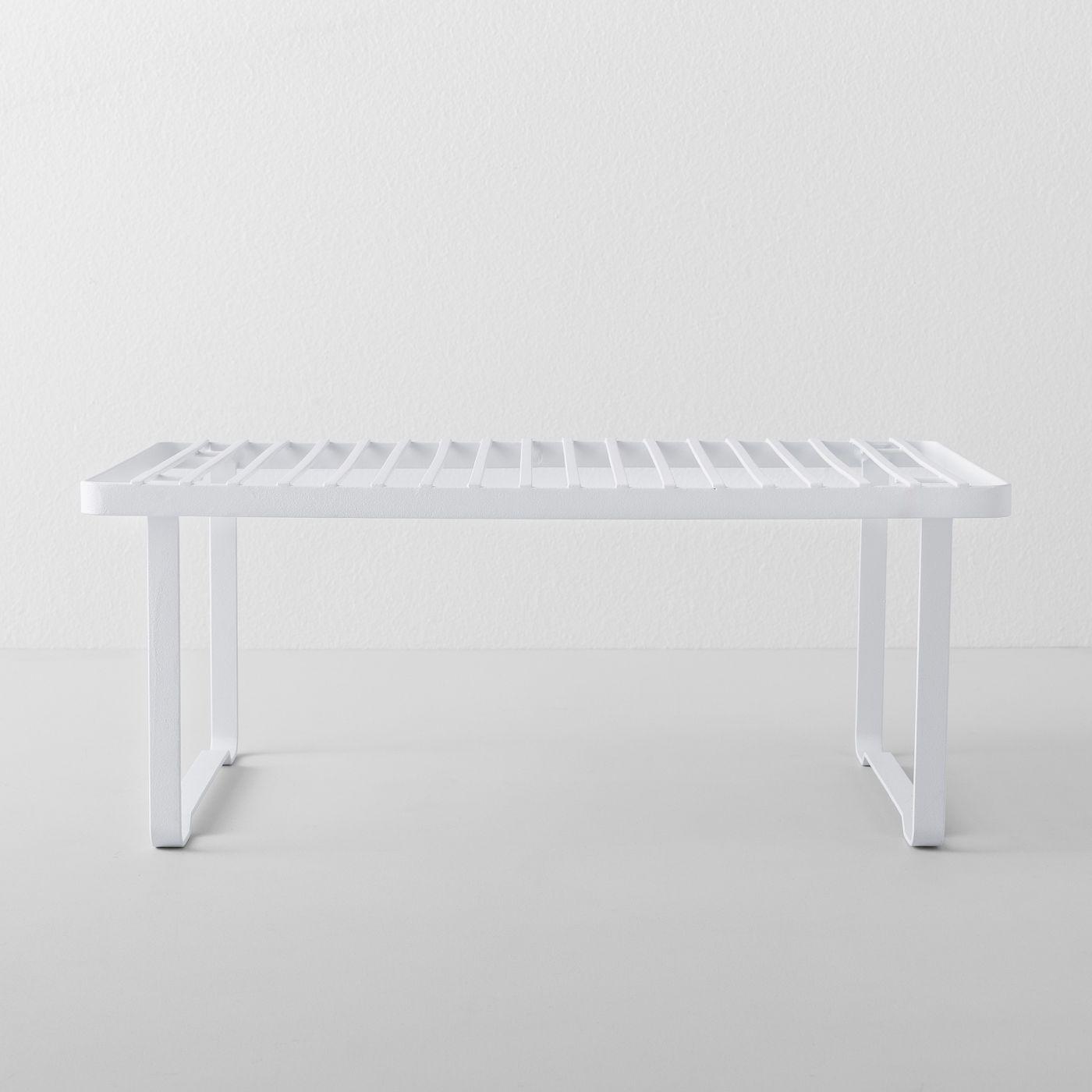 White stand-alone shelf