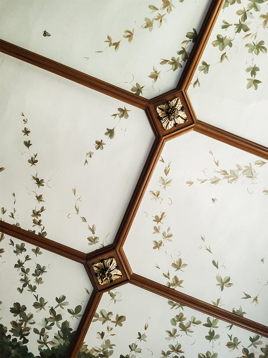 ceiling with vine wallpaper and wood coffers