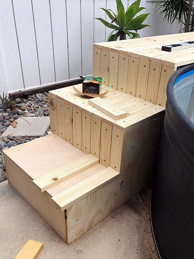 small wood steps being built