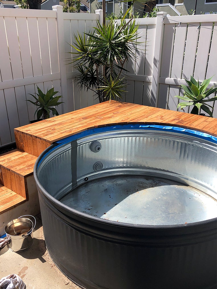 pool deck stained orange