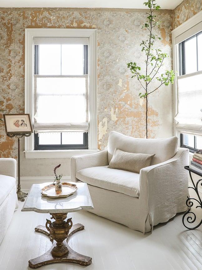 plaster wallpaper white chair living room