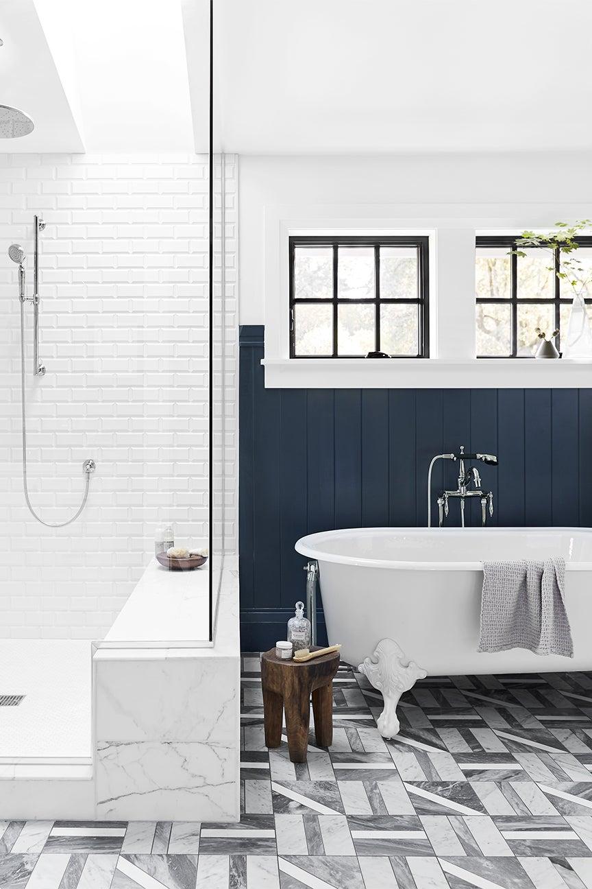 blue and grey bathroom
