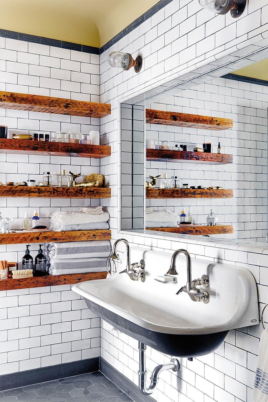 industrial bathroom wooden floating shelves farmhouse sink