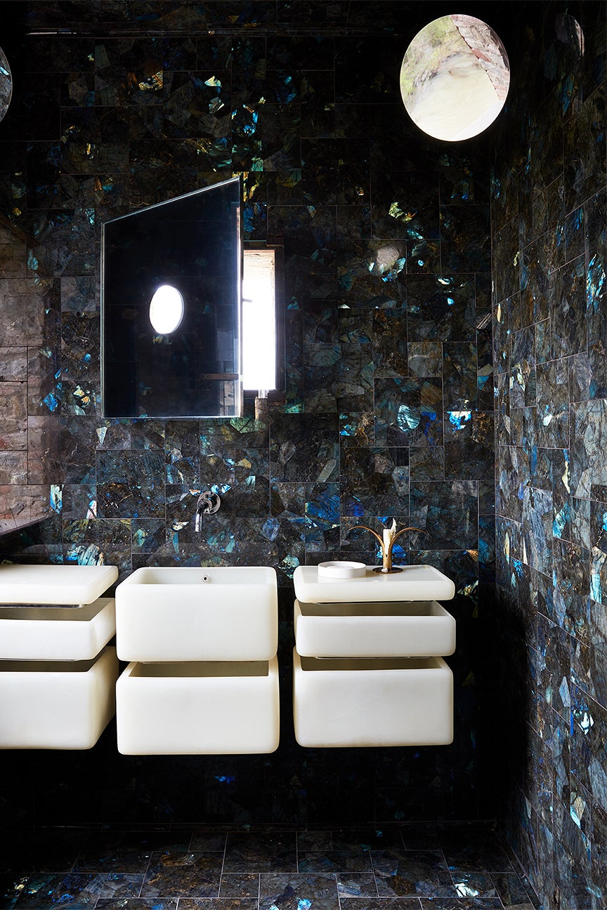 charcoal grey bathroom with blue flecked tile