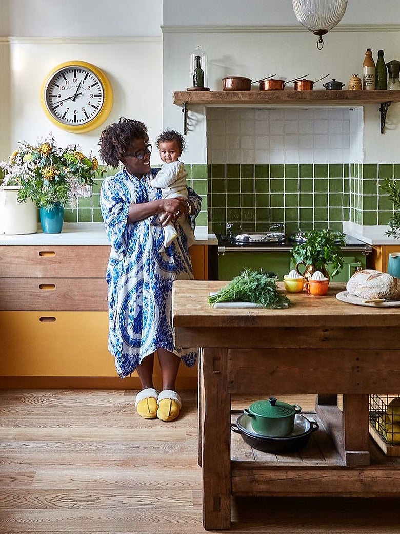 Sophia Cook and her son in her London kitchen