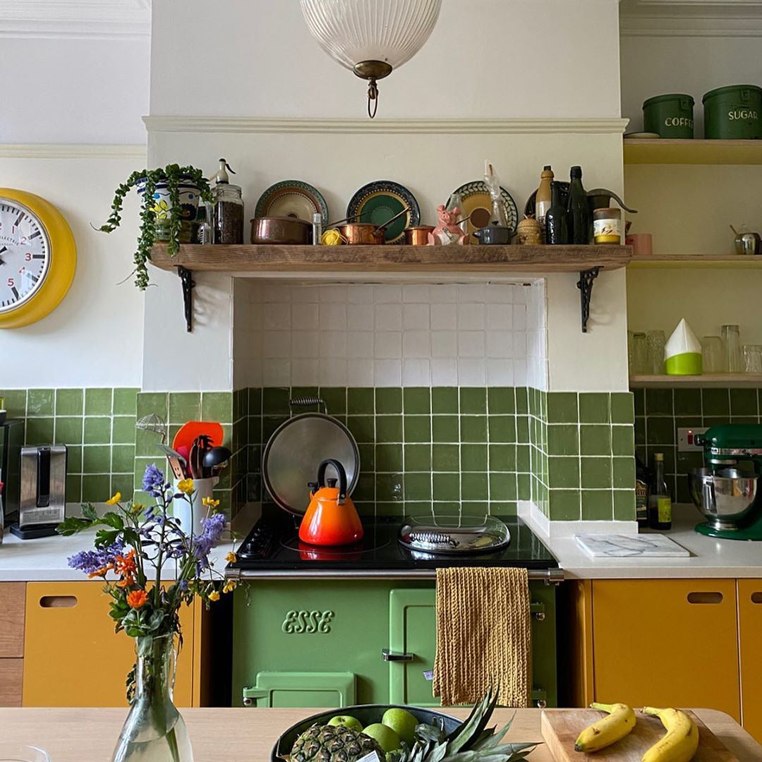 Kitchen with green Esse stove