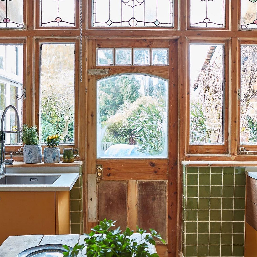 Kitchen windows and door to the garden