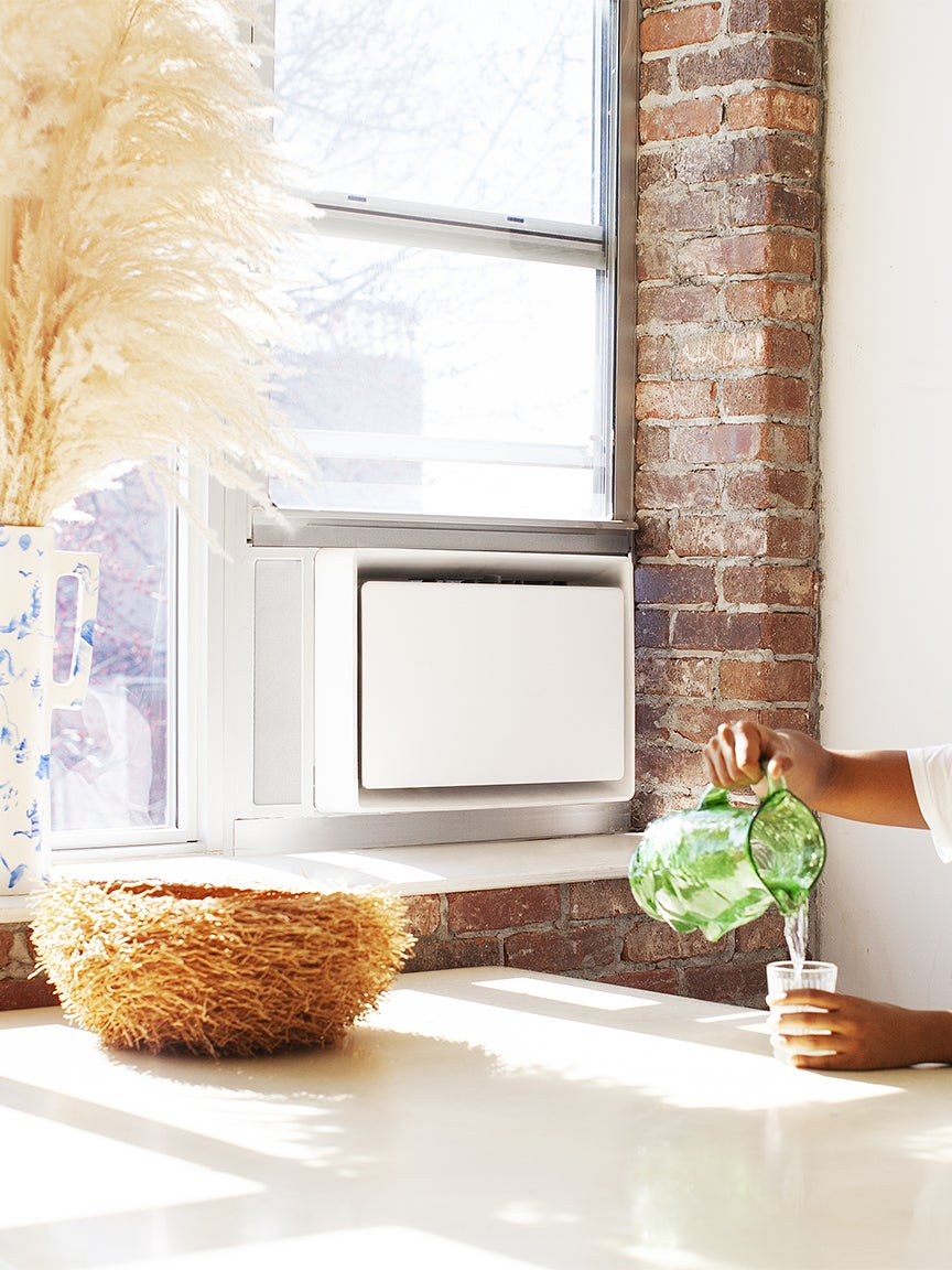 kitchen table with white window AC unit
