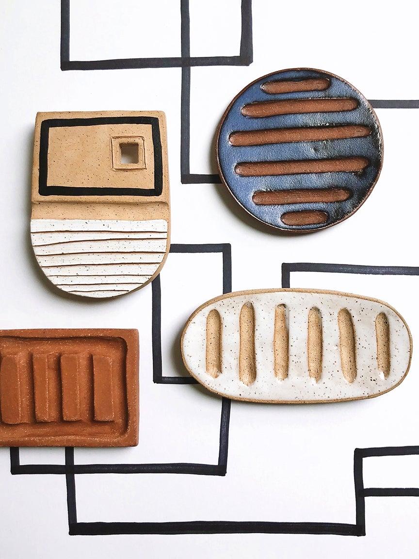 ceramic soap dish flatlay
