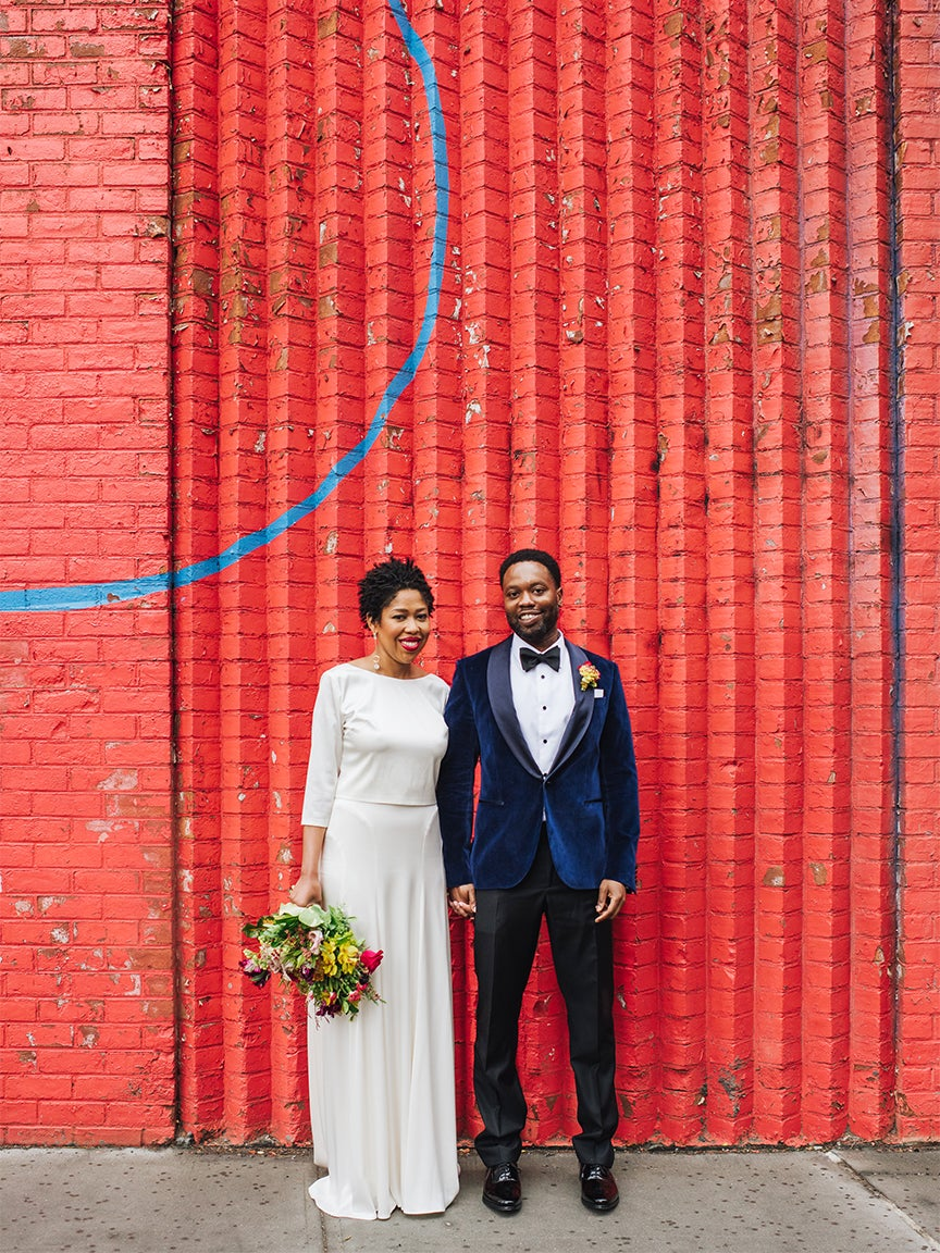 This Brooklyn Bride Rented Her Sparkly Reception Dress