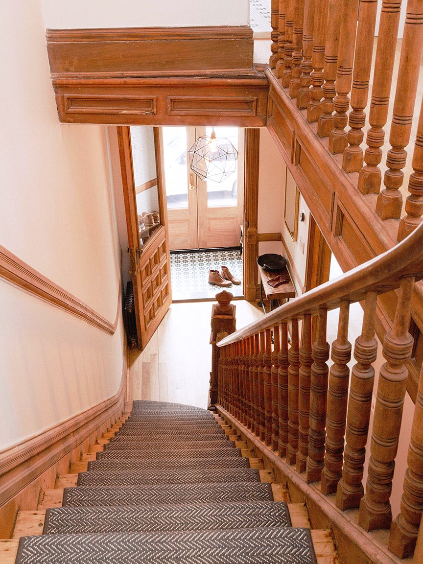 Staircase with sanded woodwork