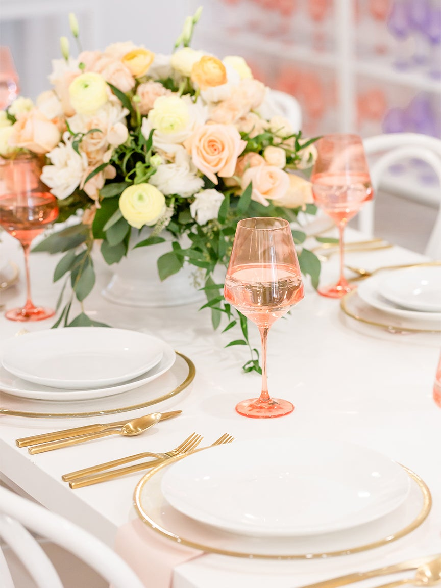 Tablescape with peach glasses