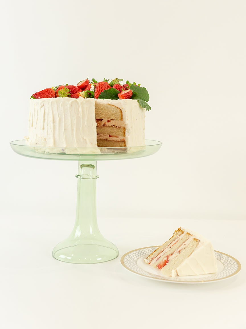 Mint cake stand with cake
