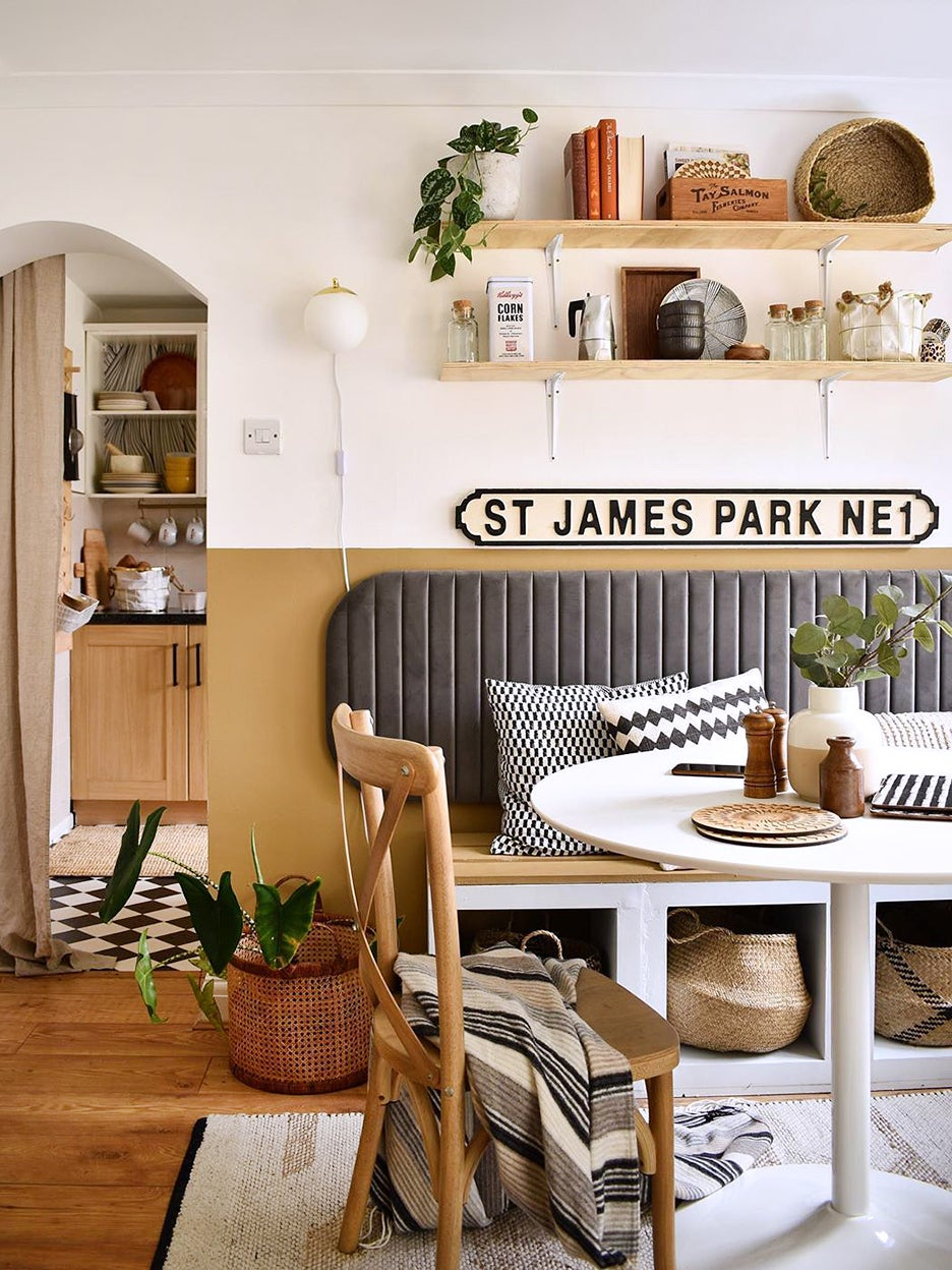 Small dining nook with seat cushion