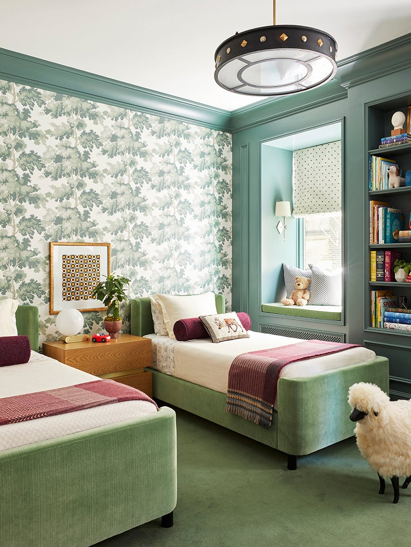 Kids room with twin beds and Scalamandre Raphael tree wallpaper designed by Summer Thornton for a Chicago Co-op residence