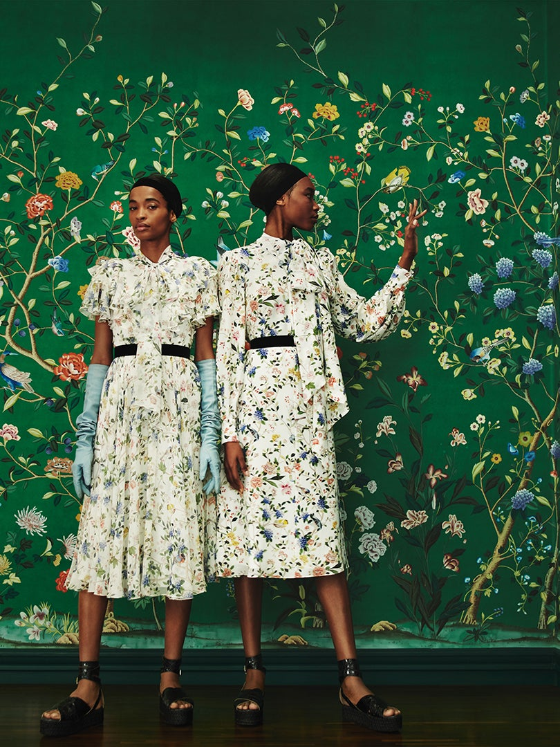 Green floral wallpaper by Erdem and De Gournay