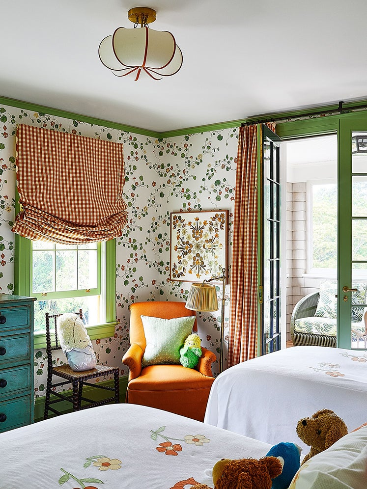 Kids room with botanical wallpaper