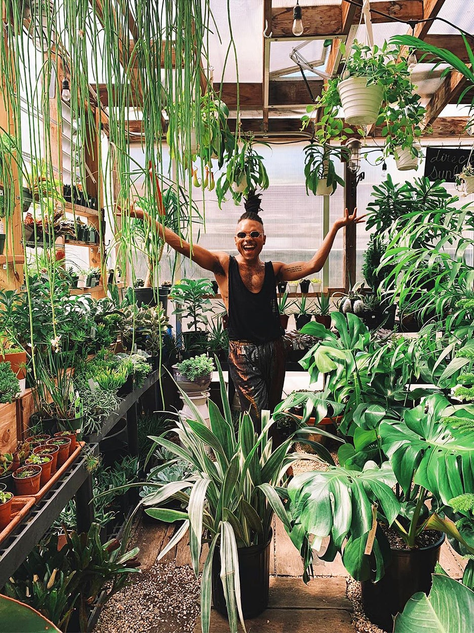Christopher Griffin among plants