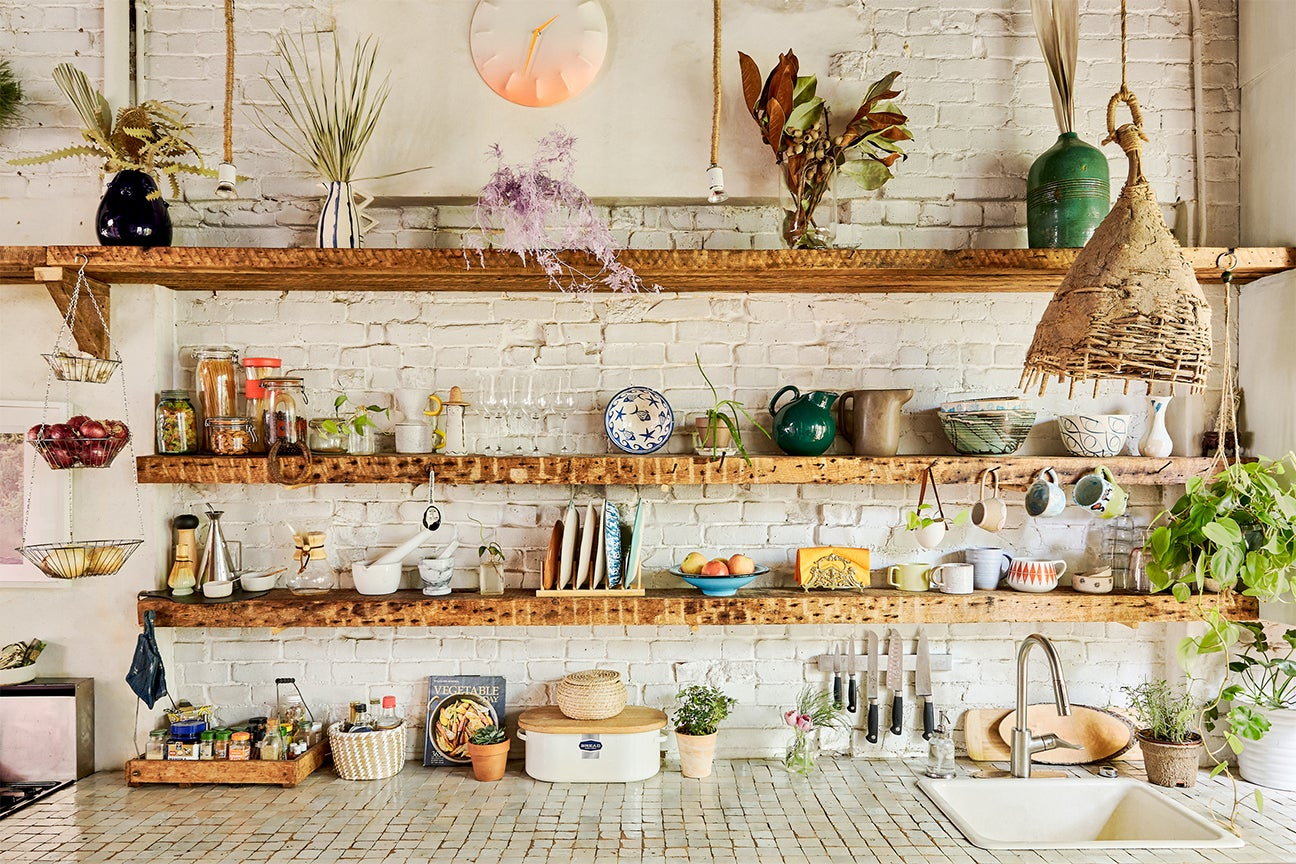 Eclectic kitchen shelves