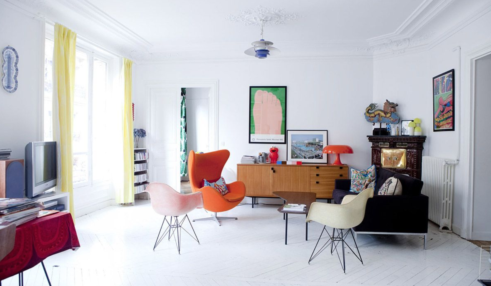 Paris living room with white painted floors