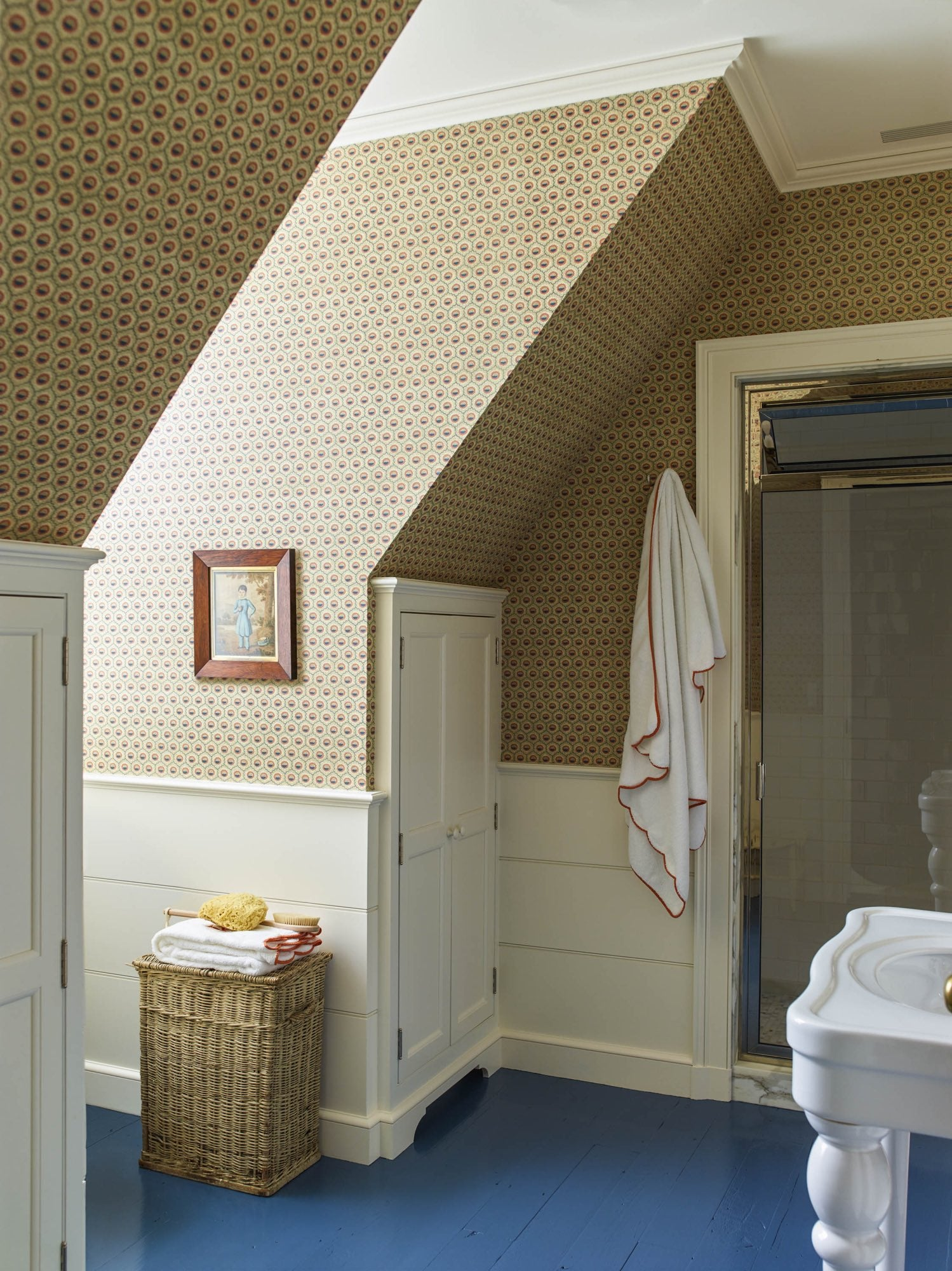 Classic bathroom with blue painted floors