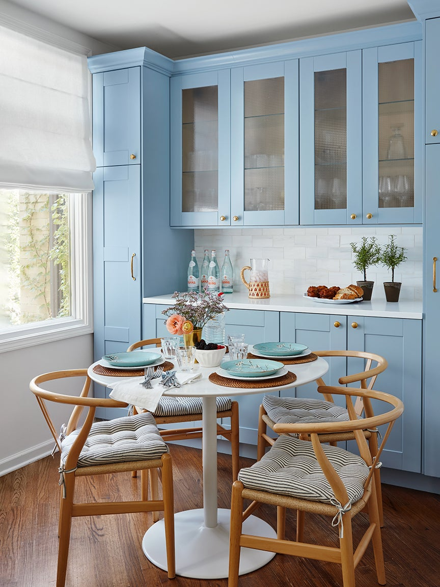 French blue kitchen breakfast nook