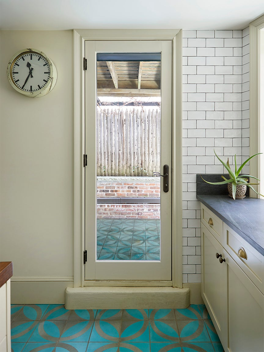 door with clear glass panel