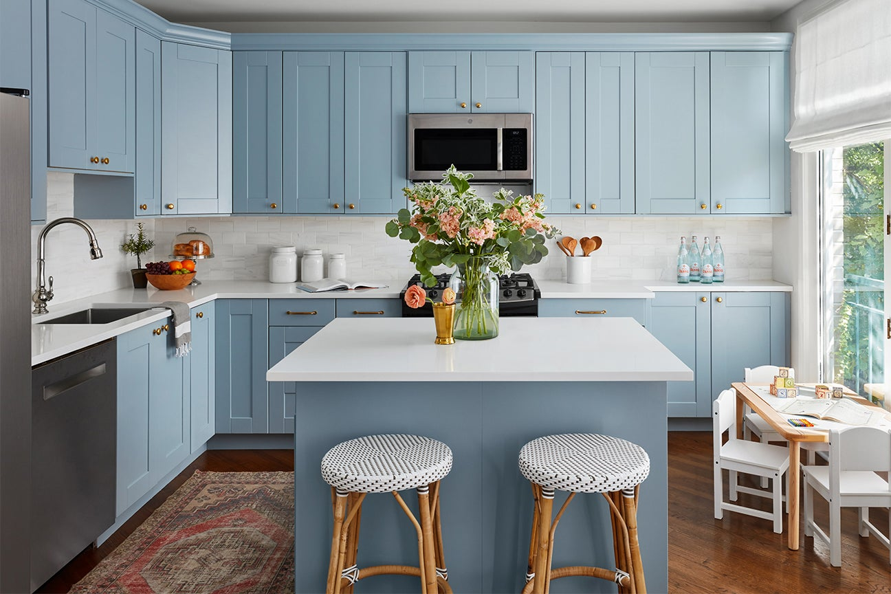 French blue kitchen with island