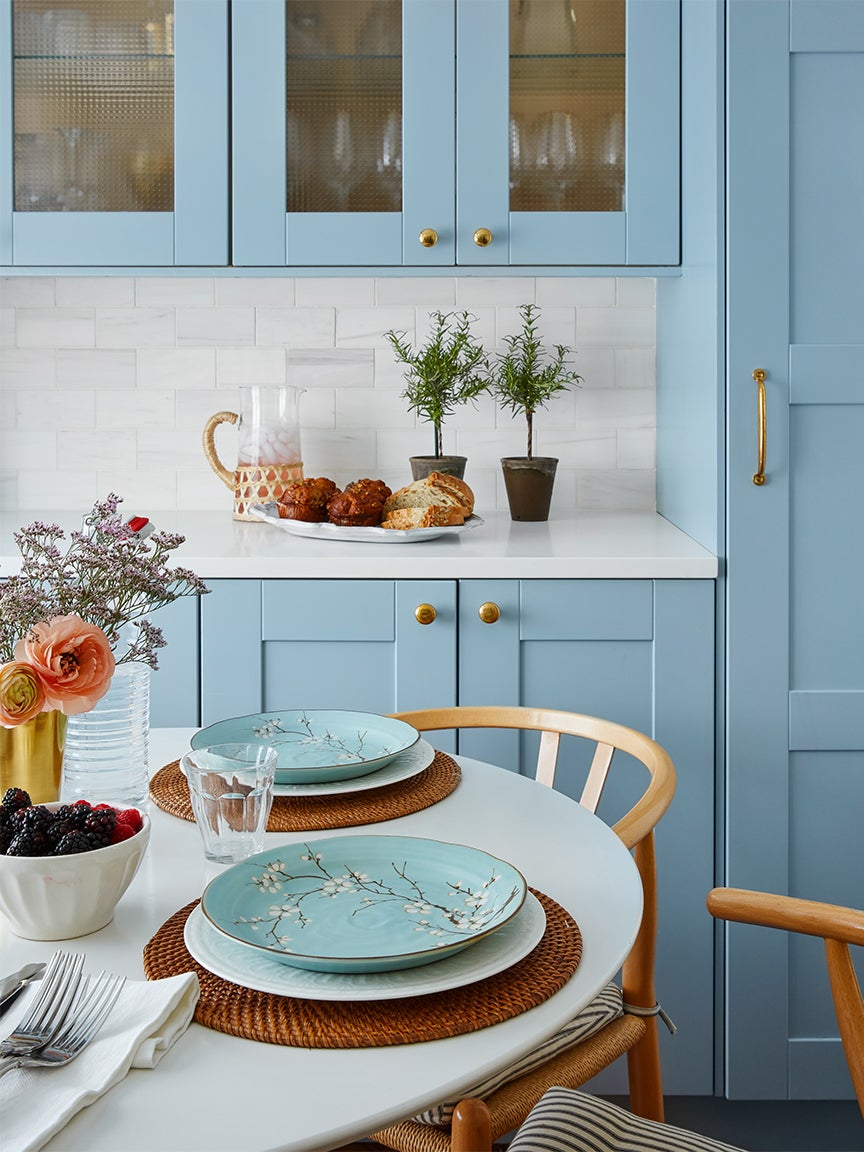 French blue kitchen cabinets