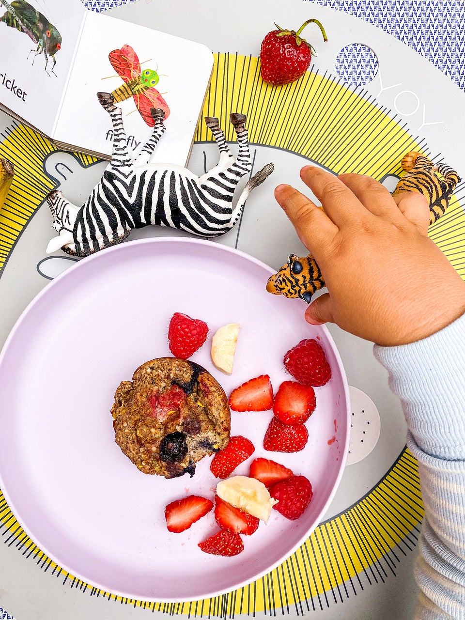 muffin on a pink plate with baby hand reaching for it