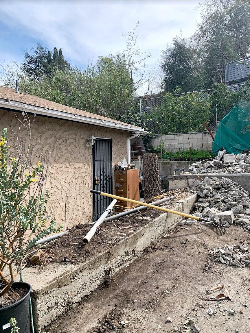 rubble in backyard