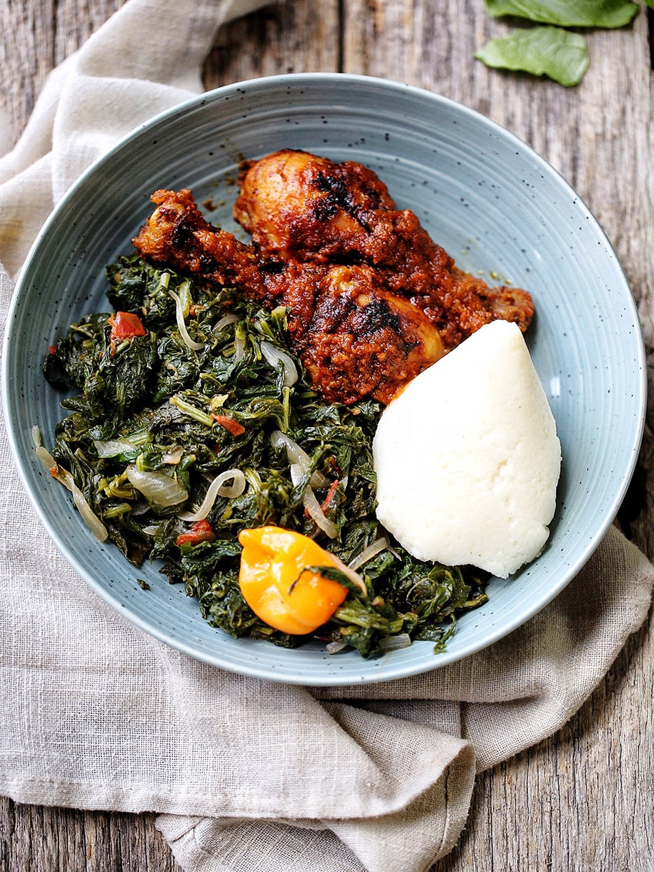 Kati Kati and Cameroonian-style Turnip Greens in a blue bowl