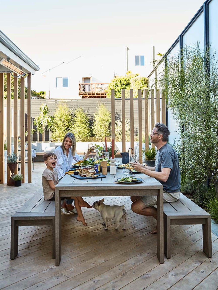 Erin Hiemstra and her family in her San Francisco backyard