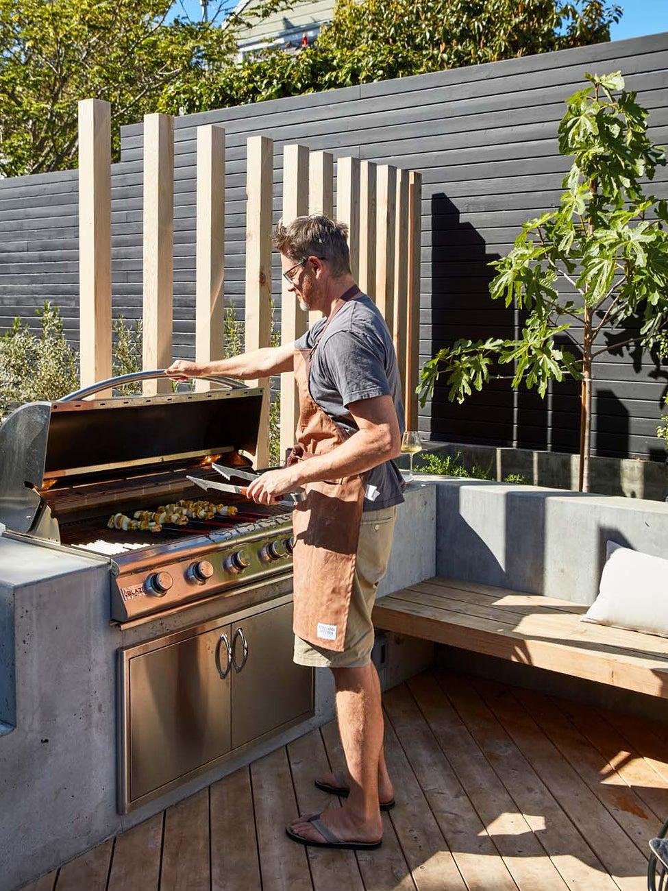 Erin Hiemstra's husband grilling