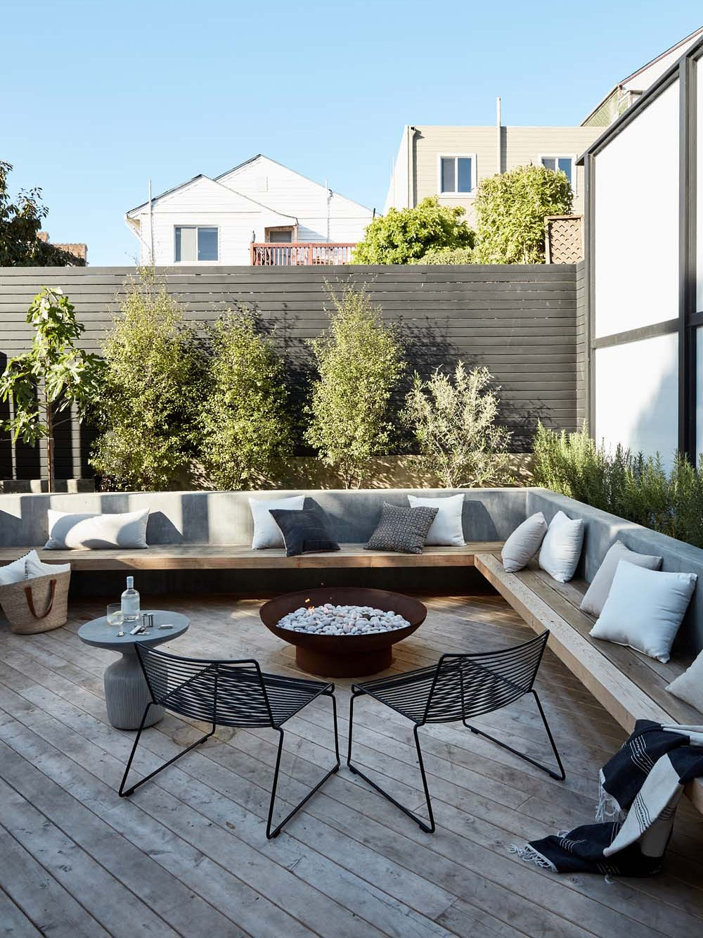 Erin Hiemstra's outdoor living area with firepit