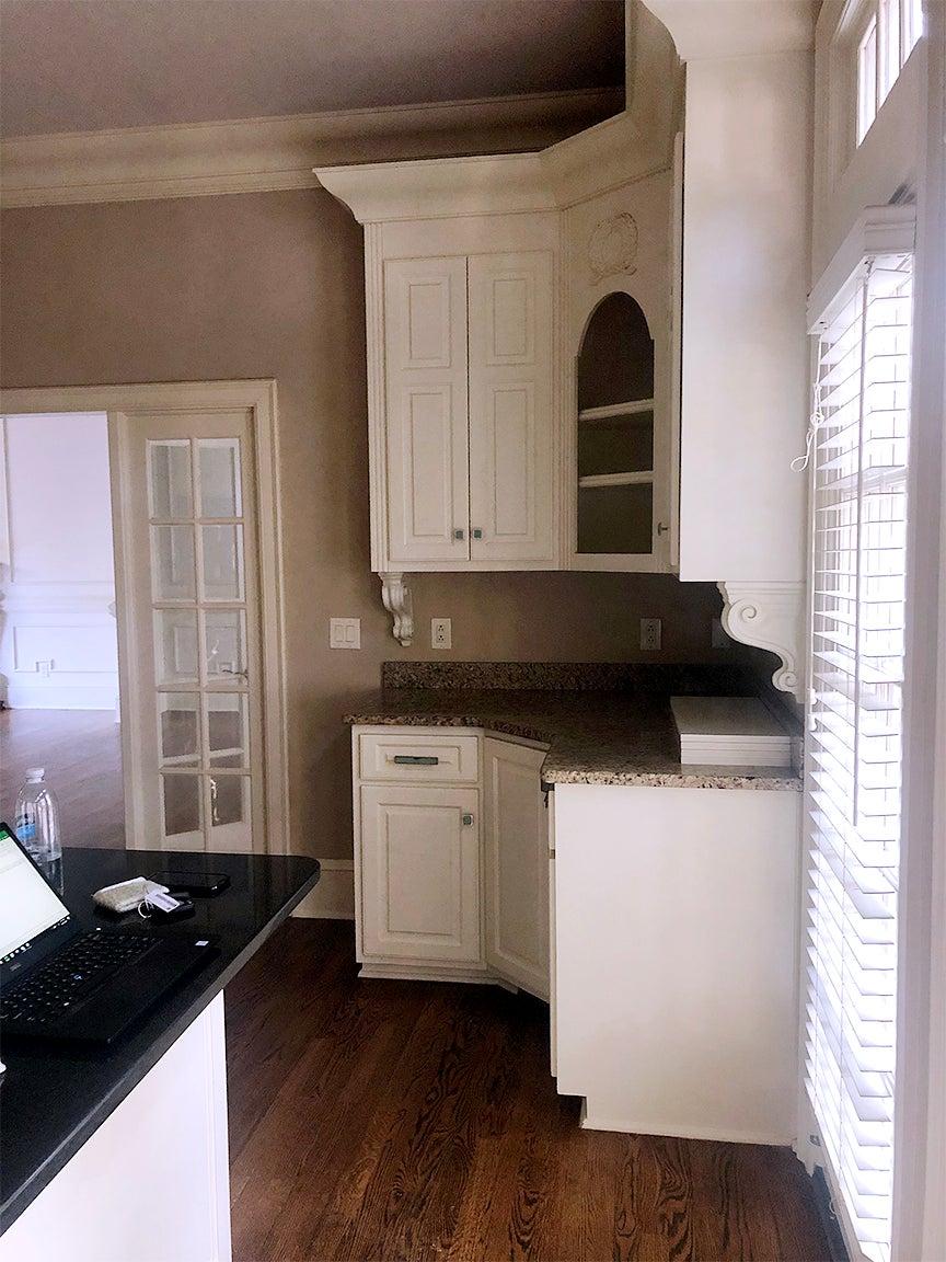 cabinet in corner nook of a room