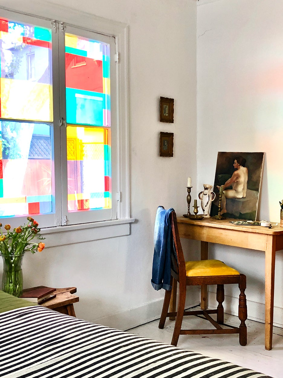 desk corner with stained glass