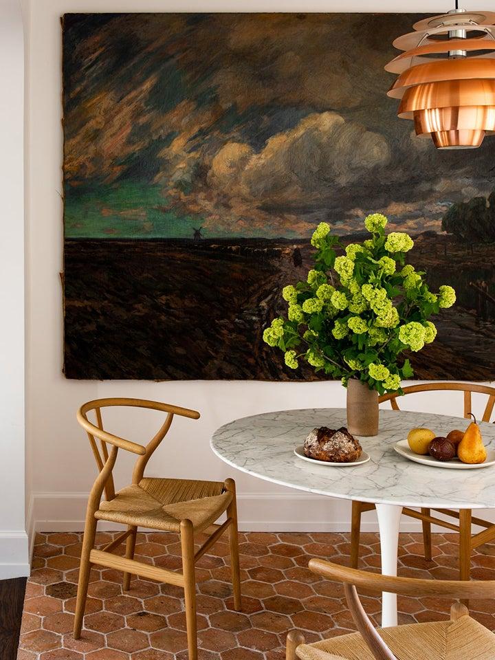 Breakfast nook with terracotta floors