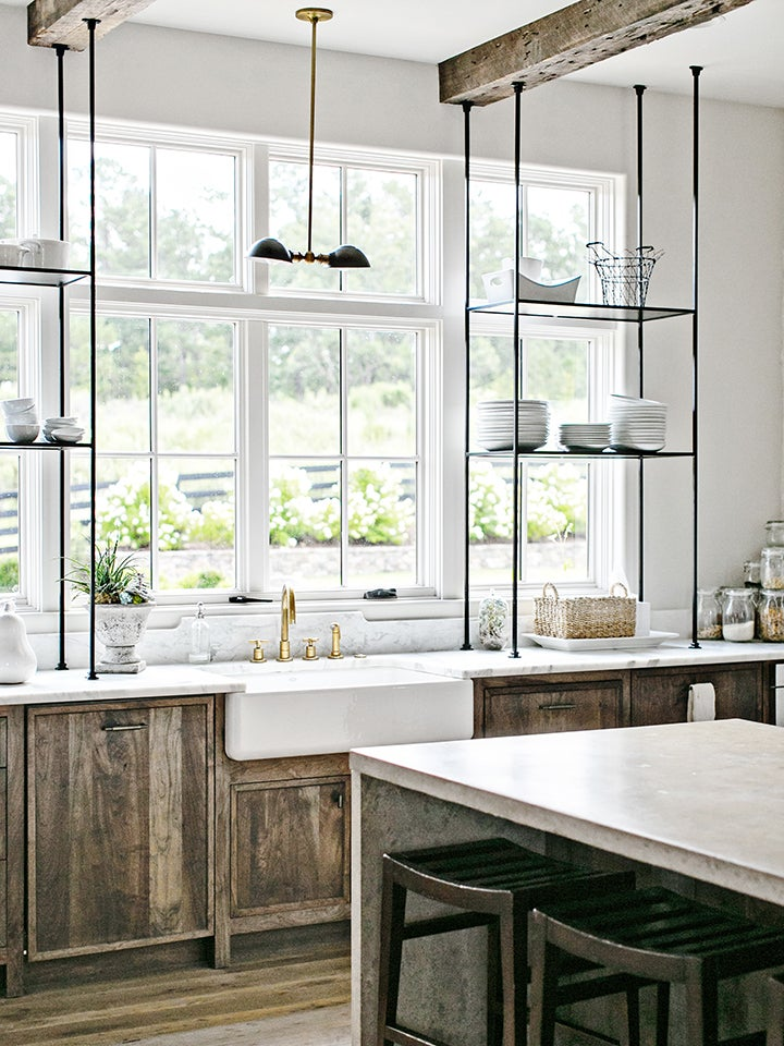 rustic kitchen cabinets with open shelves