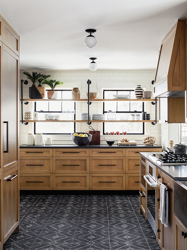 wood cabinets in a farmhouse kitchen