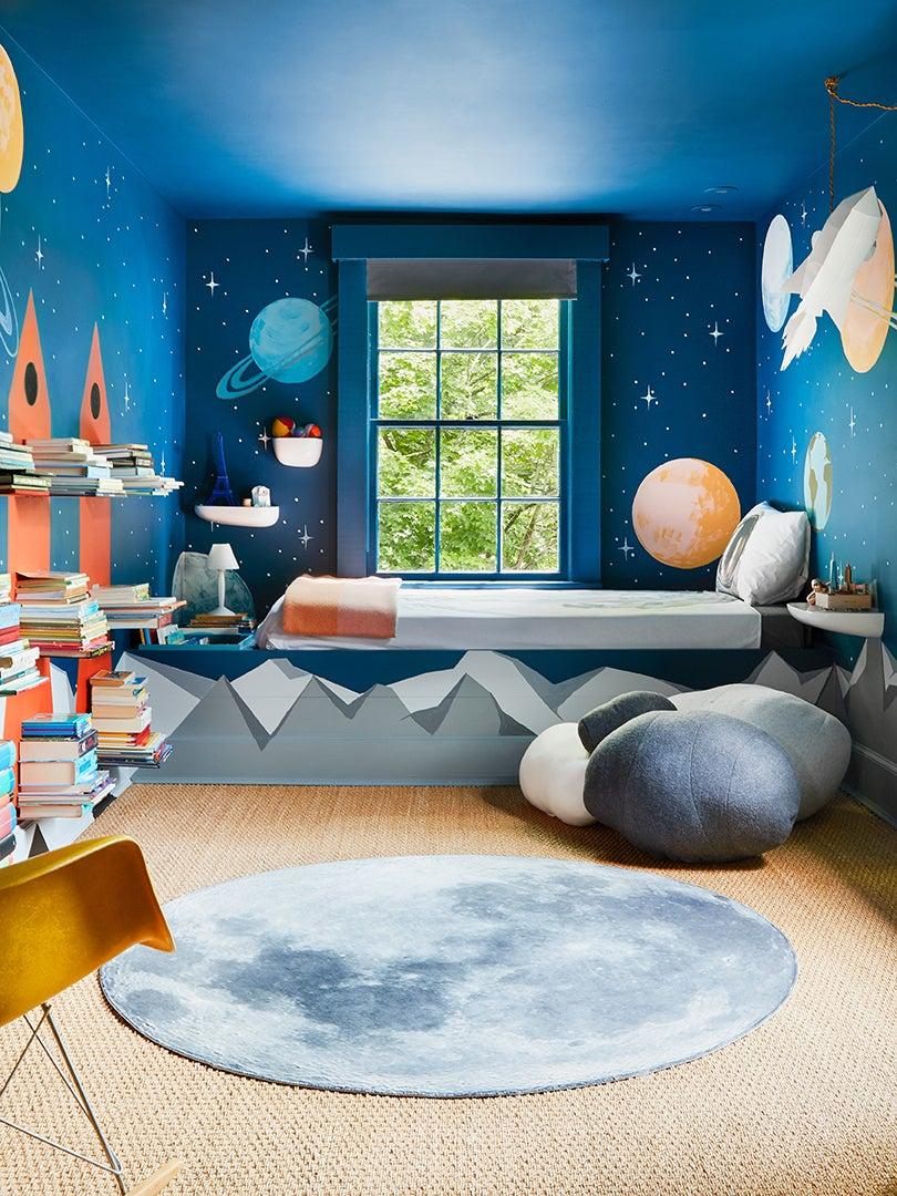 Kids room with outerspace theme