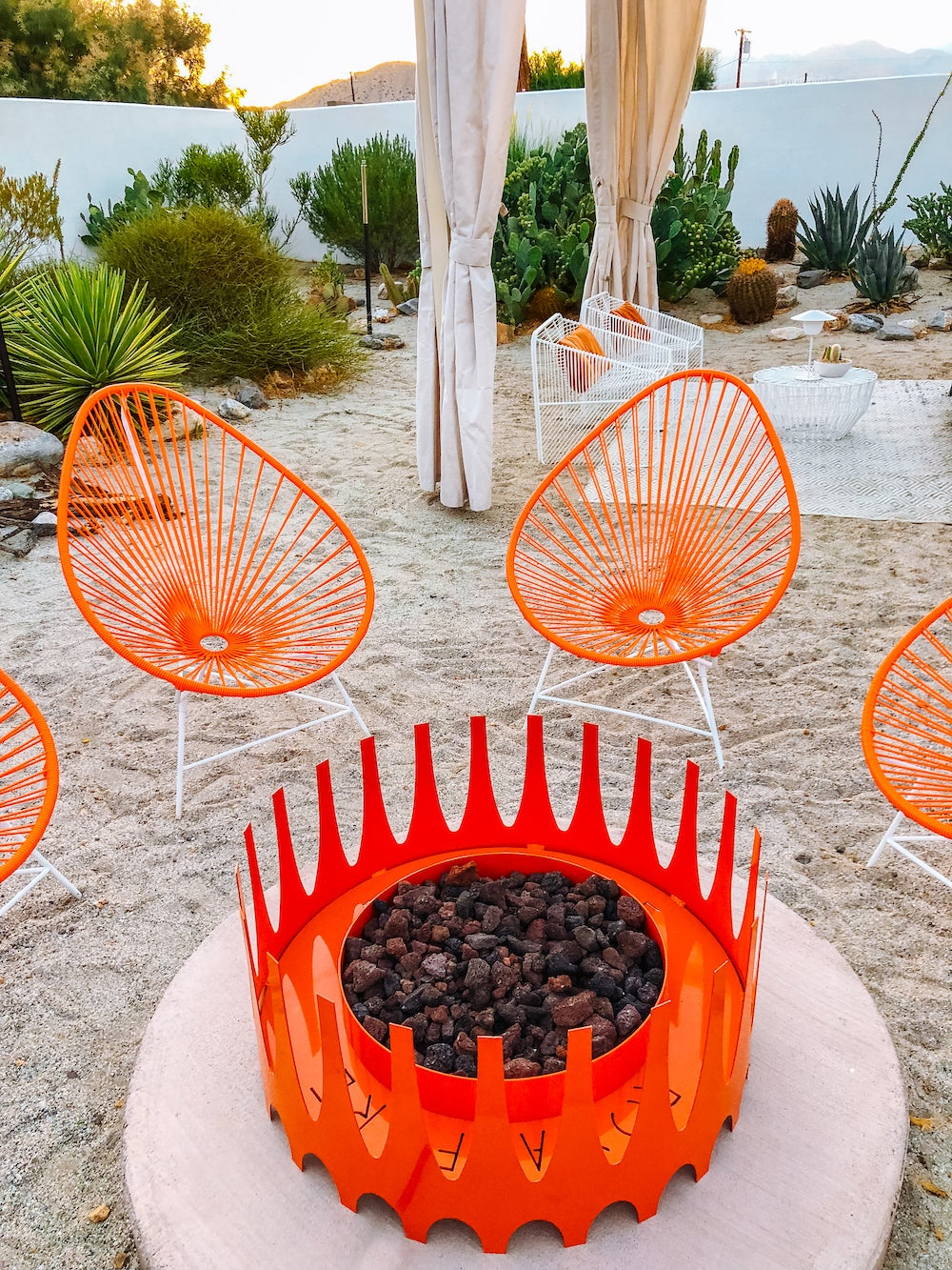 red outdoor fire pit