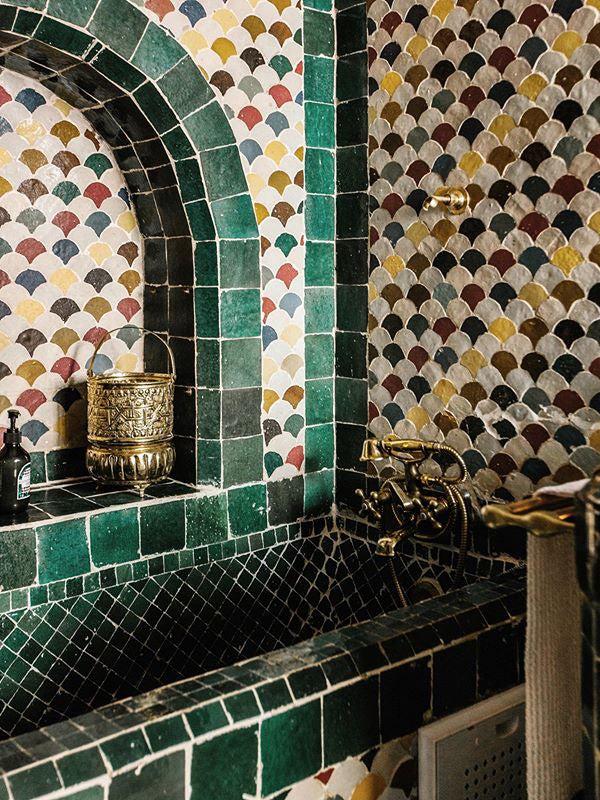 green tile morroccan bathroom