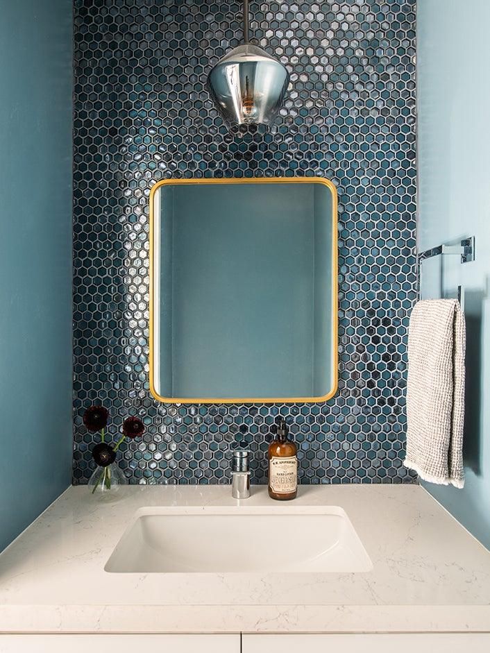 blue teal sink backsplash