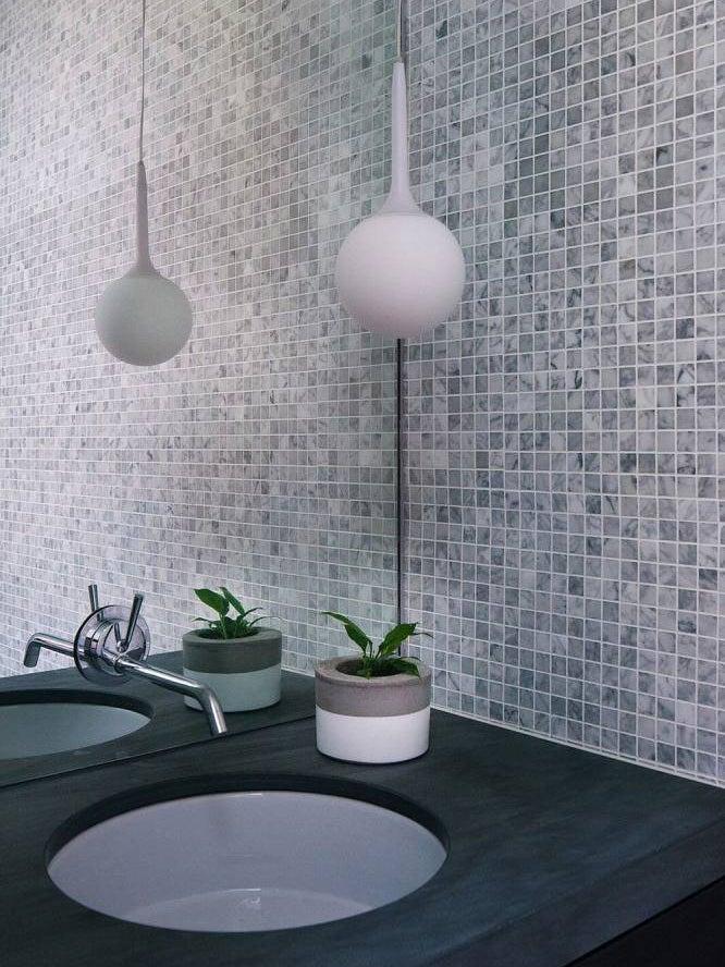 grey bathroom tiles white pendant light