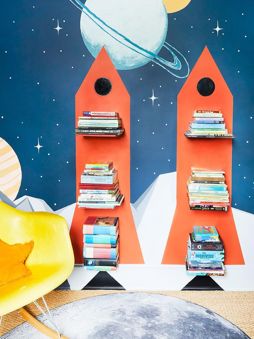 Red rocket shelves in kids room